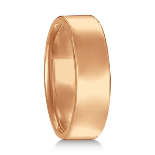 Euro Dome Comfort Fit Wedding Ring Men's Band 14k Rose Gold (6mm)
