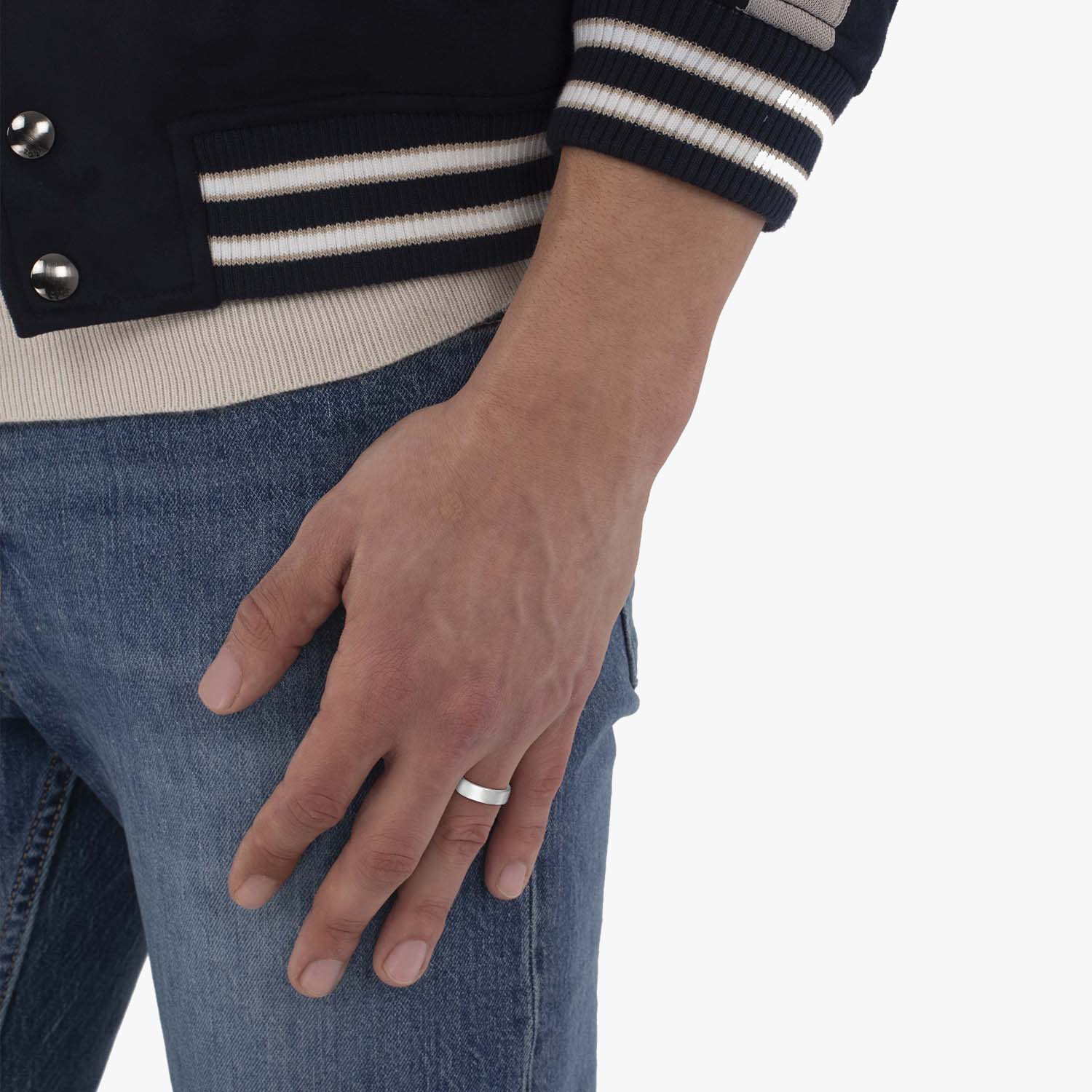 Euro Dome Comfort Fit Wedding Ring Men's Band 14k White Gold (6mm)