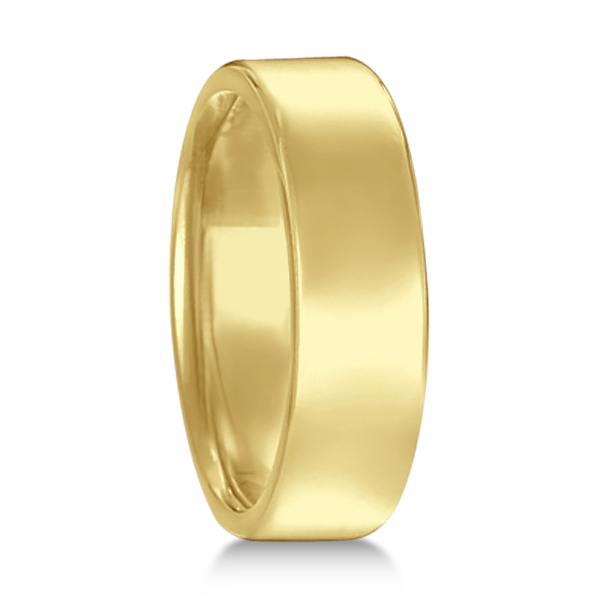 Euro Dome Comfort Fit Wedding Ring Men's Band 14k Yellow Gold (6mm)