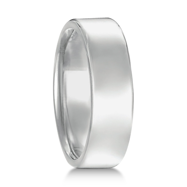 Euro Dome Comfort Fit Wedding Ring Men's Band 18k White Gold (6mm)