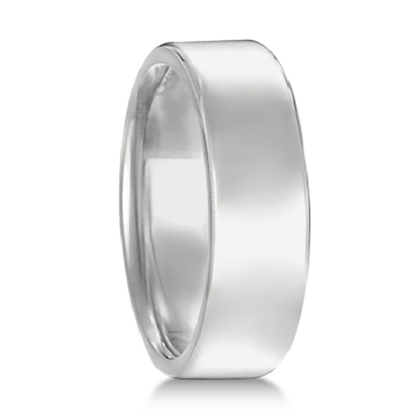 Euro Dome Comfort Fit Wedding Ring Men's Band 14k White Gold (7mm)