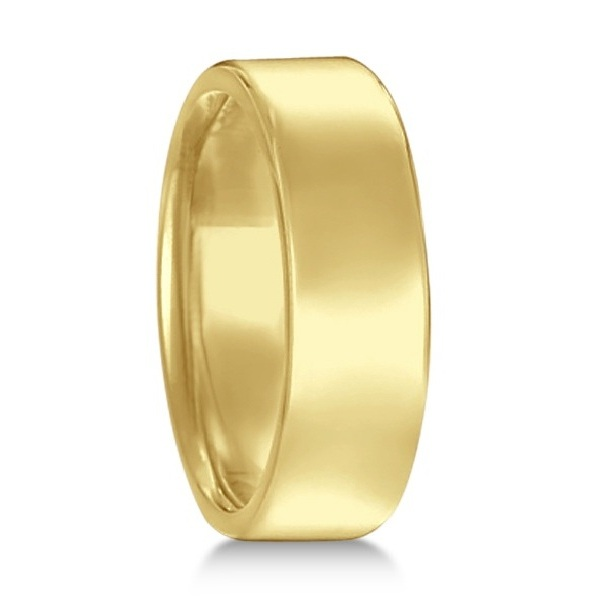 Euro Dome Comfort Fit Wedding Ring Men's Band 14k Yellow Gold (7mm)