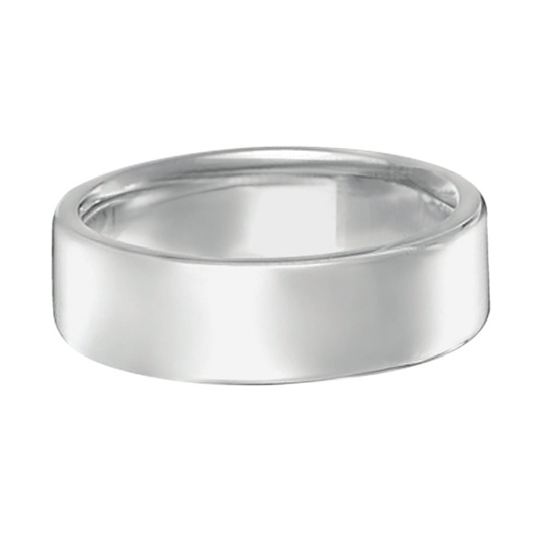 Euro Dome Comfort Fit Wedding Ring Men's Band 18k White Gold (7mm)
