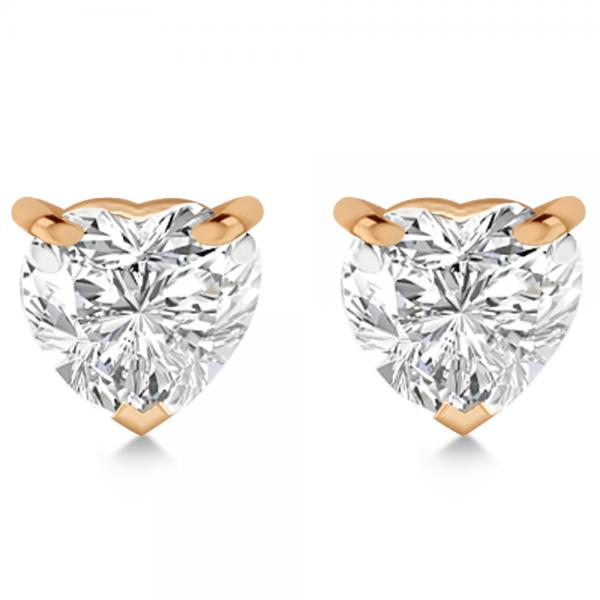 1.00ct Heart-Cut Diamond Stud Earrings 14kt Rose Gold (H, SI1-SI2)