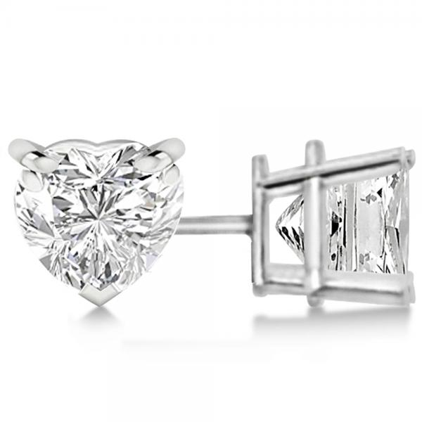 1.00ct Heart-Cut Diamond Stud Earrings 14kt White Gold (H, SI1-SI2)