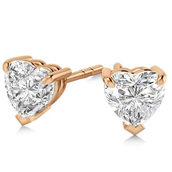 1.50ct Heart-Cut Diamond Stud Earrings 18kt Rose Gold (H, SI1-SI2)