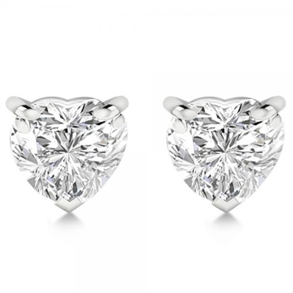 0.50ct Heart-Cut Diamond Stud Earrings 18kt White Gold (H, SI1-SI2)