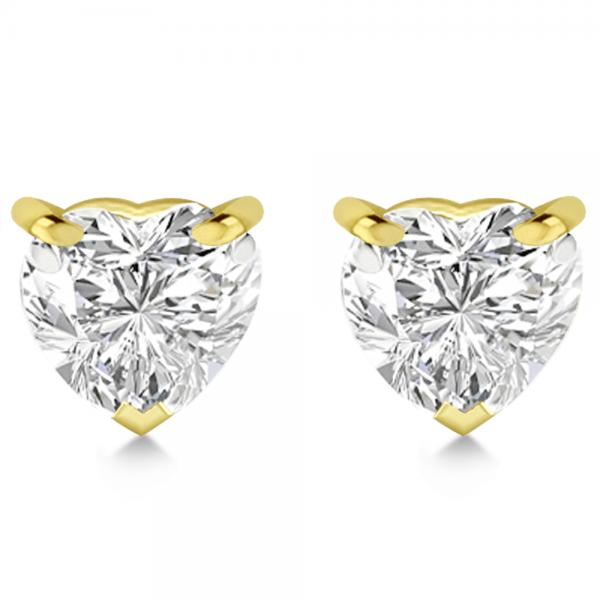 2.00ct Heart-Cut Diamond Stud Earrings 18kt Yellow Gold (H, SI1-SI2)