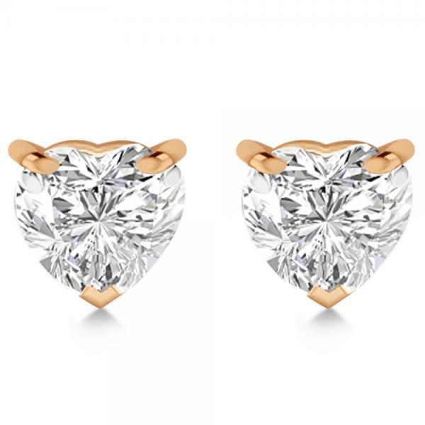 2.00ct Heart-Cut Diamond Stud Earrings 14kt Rose Gold (G-H, VS2-SI1)