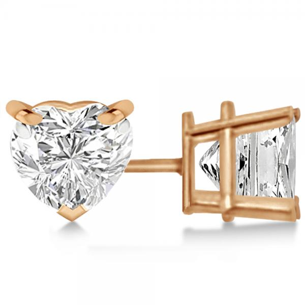 0.75ct Heart-Cut Diamond Stud Earrings 18kt Rose Gold (G-H, VS2-SI1)