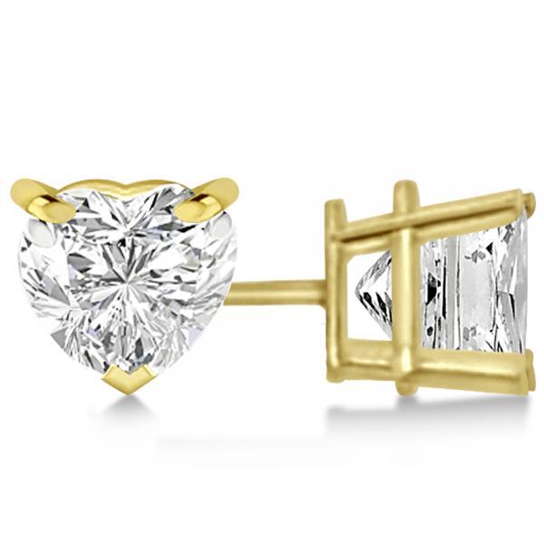 1.00ct Heart-Cut Moissanite Stud Earrings 14kt Yellow Gold (F-G, VVS1)