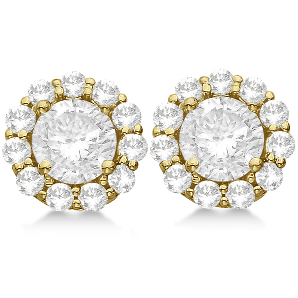 1.00ct. Halo Diamond Stud Earrings 14kt Yellow Gold (H, SI1-SI2)