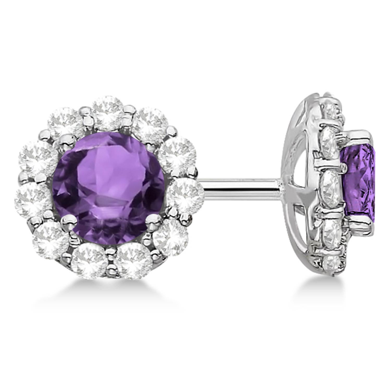 Halo Amethyst Diamond Stud Earrings 14kt White Gold 1.92ct