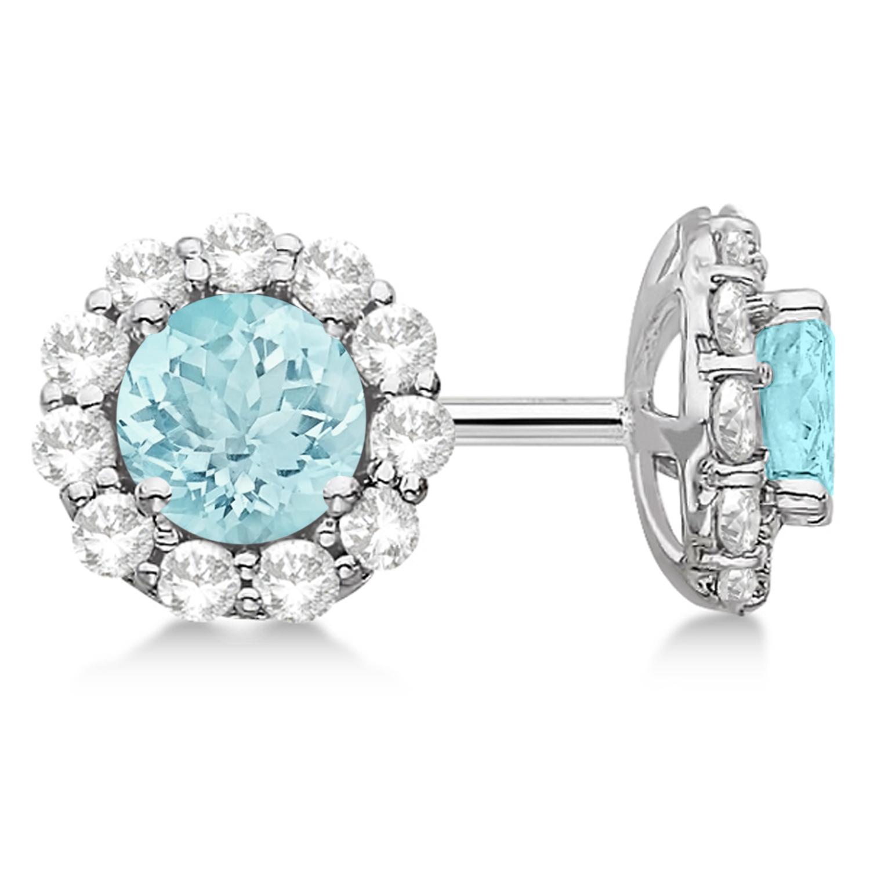 Halo Aquamarine Diamond Stud Earrings 14kt White Gold 2.02ct.