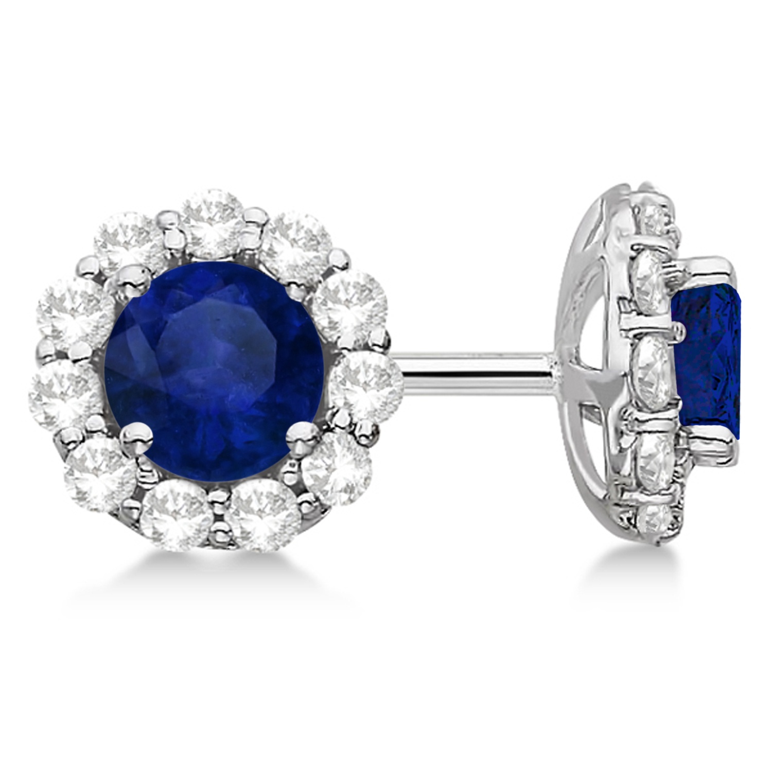 sapphire earrings with diamonds halo blue sapphire stud earrings 14kt white gold 4383