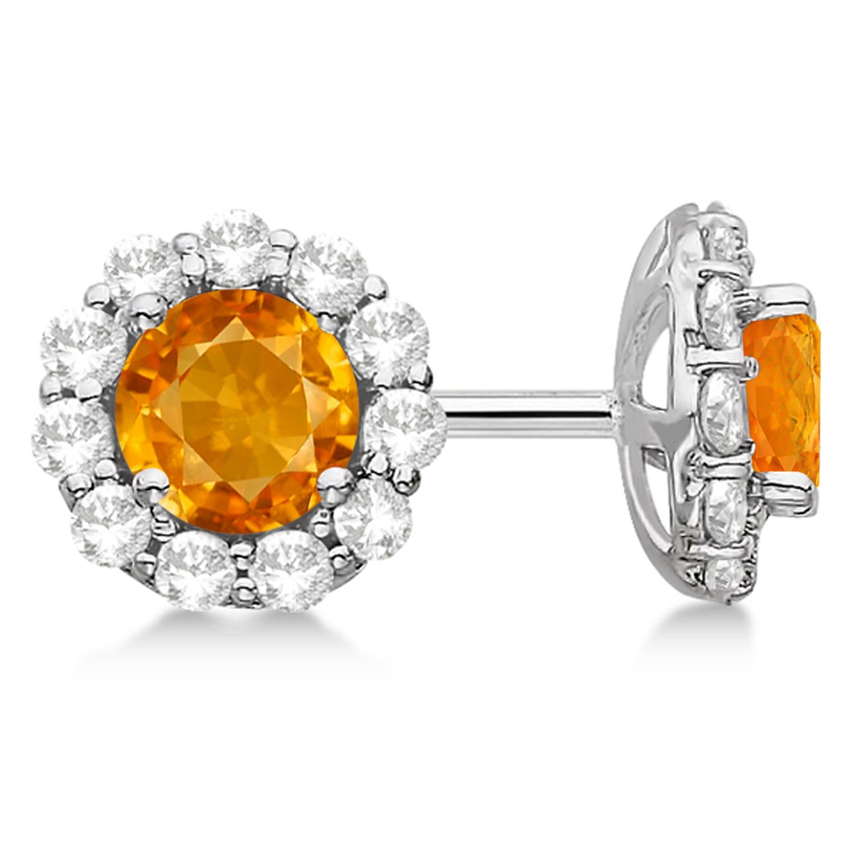 Halo Citrine & Diamond Stud Earrings 14kt White Gold 1.92ct.