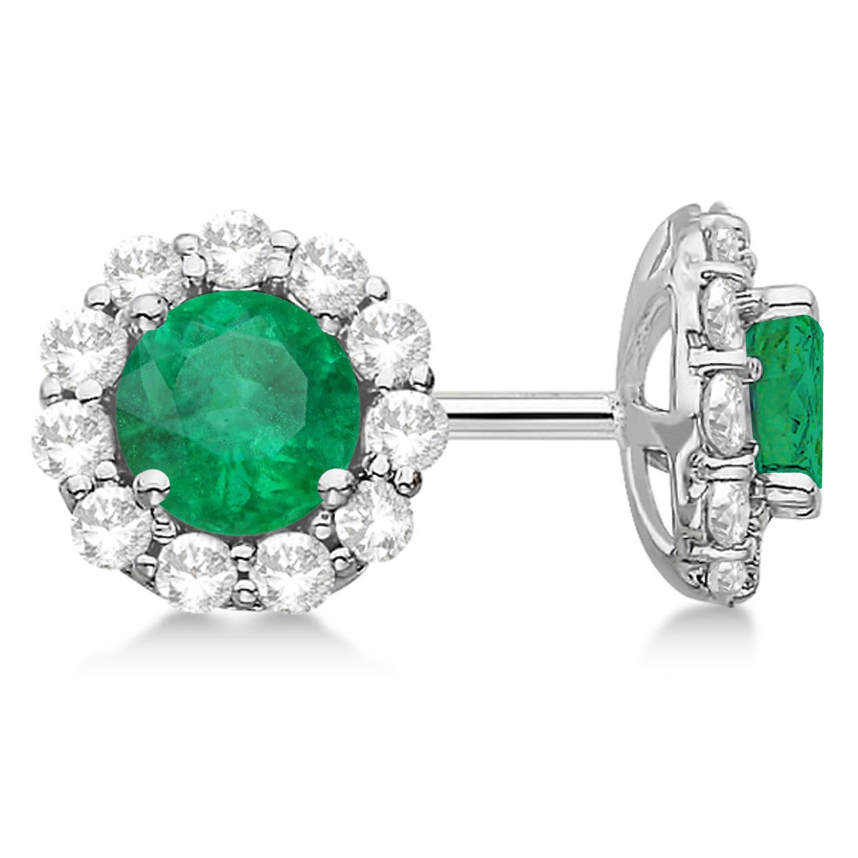 Halo Emerald & Diamond Stud Earrings 14kt White Gold 2.12ct.