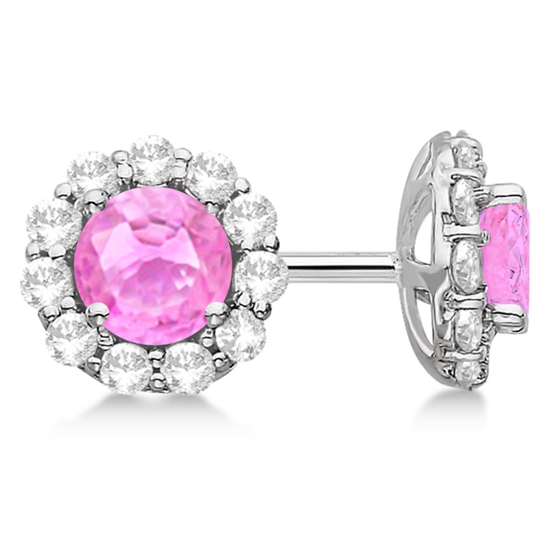 Halo Pink Sapphire & Diamond Stud Earrings 14kt White Gold 2.62ct.