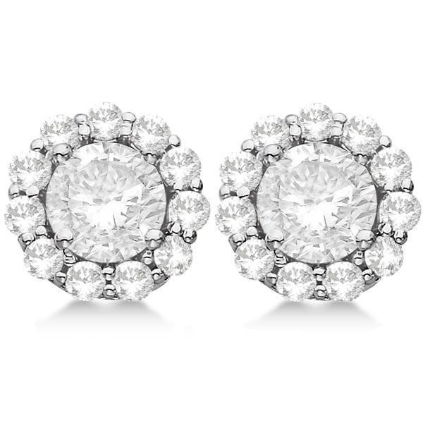 3.00ct. Halo Diamond Stud Earrings Platinum (H, SI1-SI2)
