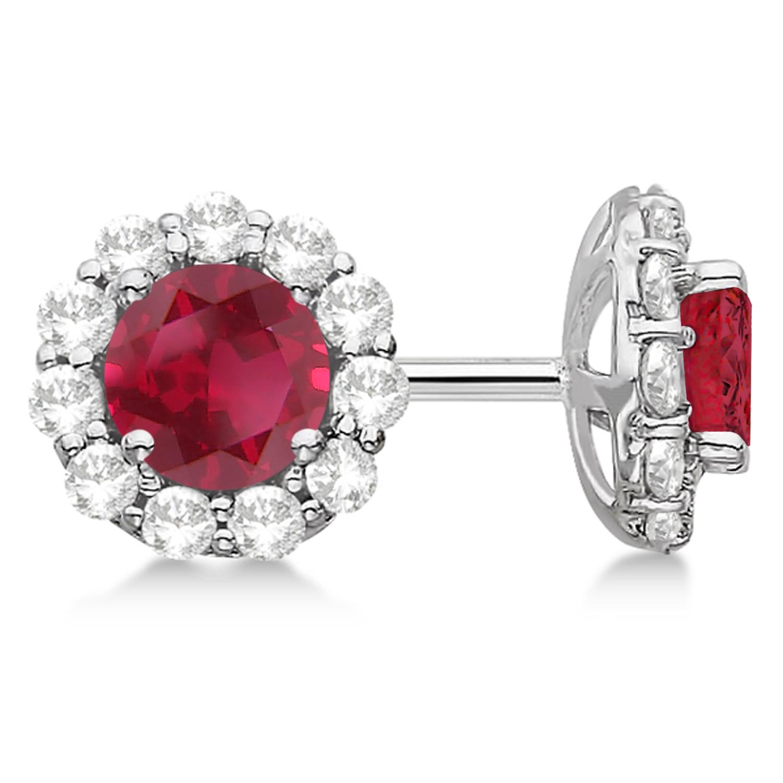 Halo Ruby & Diamond Stud Earrings 14kt White Gold 2.62ct.