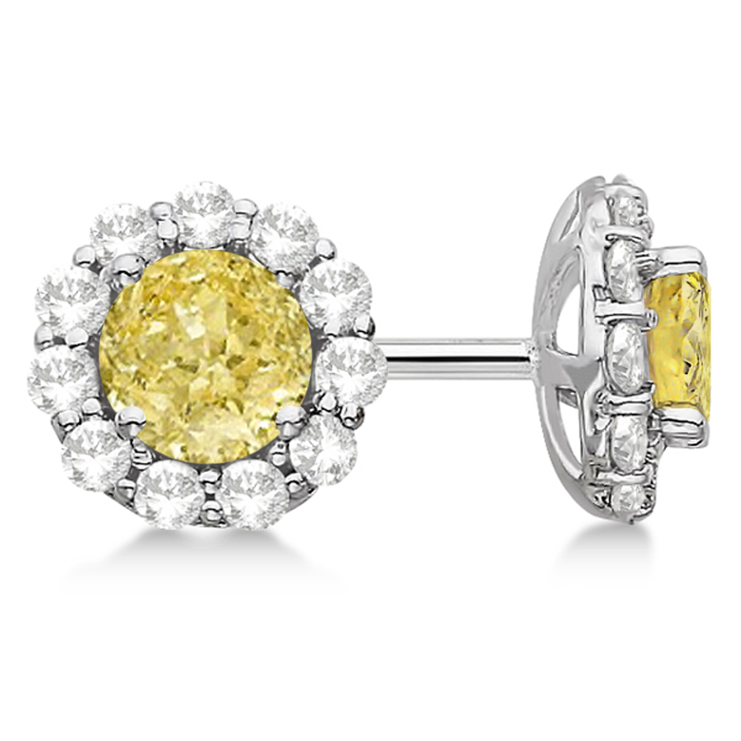 light cushion cut broumand halo mark fancy watch diamond canary stud earrings yellow