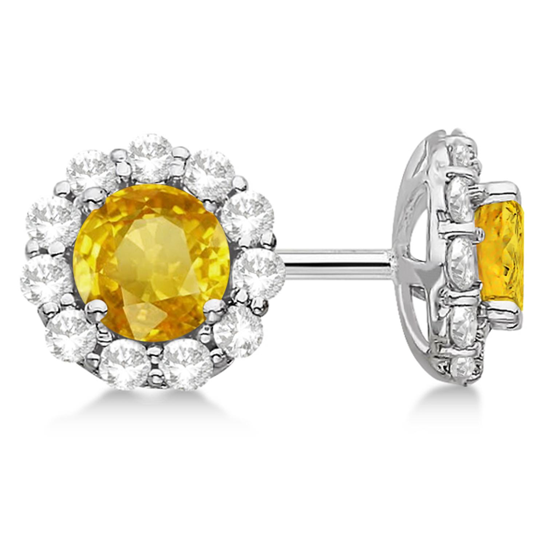 Halo Yellow Sapphire & Diamond Stud Earrings 14kt White Gold 2.62ct.