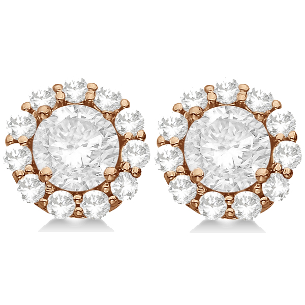 1.50ct. Halo Diamond Stud Earrings 14kt Rose Gold (G-H, VS2-SI1)