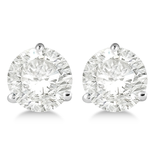 4.00ct. 3-Prong Martini Diamond Stud Earrings Palladium (H-I, SI2-SI3)