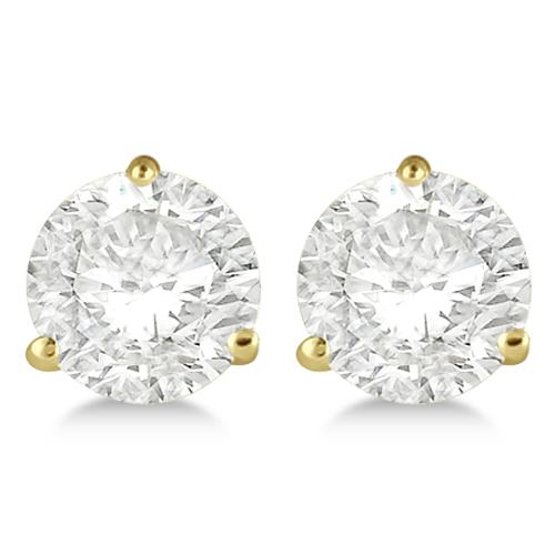 4.00ct. 3-Prong Martini Diamond Stud Earrings 14kt Yellow Gold (H, SI1-SI2)