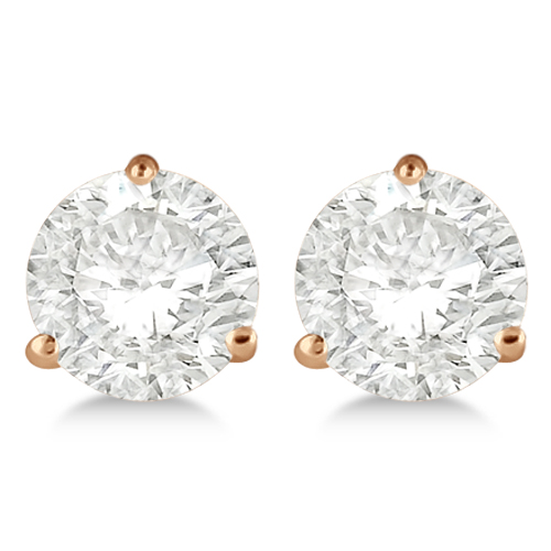 3.00ct. 3-Prong Martini Diamond Stud Earrings 18kt Rose Gold (H, SI1-SI2)