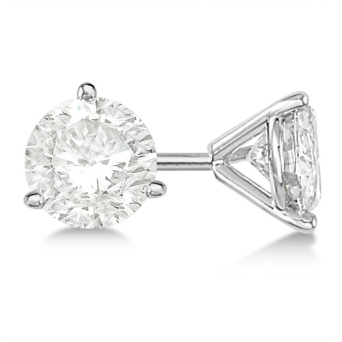 3.00ct. 3-Prong Martini Diamond Stud Earrings Palladium (H, SI1-SI2)