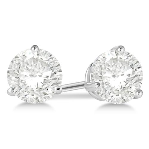 0.75ct. 3-Prong Martini Diamond Stud Earrings Palladium (H, SI1-SI2)