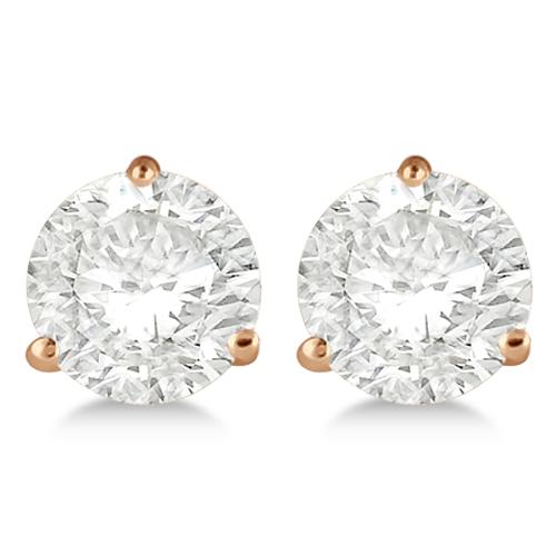 1.00ct. 3-Prong Martini Diamond Stud Earrings 18kt Rose Gold (G-H, VS2-SI1)