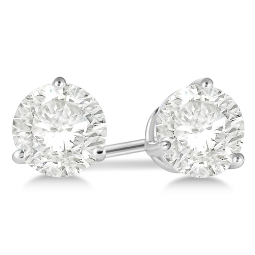 1.00ct. 3-Prong Martini Diamond Stud Earrings 18kt White Gold (G-H, VS2-SI1)