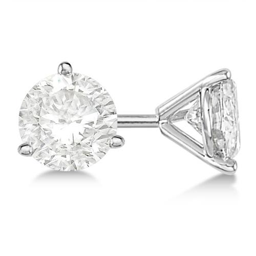 0.75ct. 3-Prong Martini Diamond Stud Earrings Platinum (G-H, VS2-SI1)