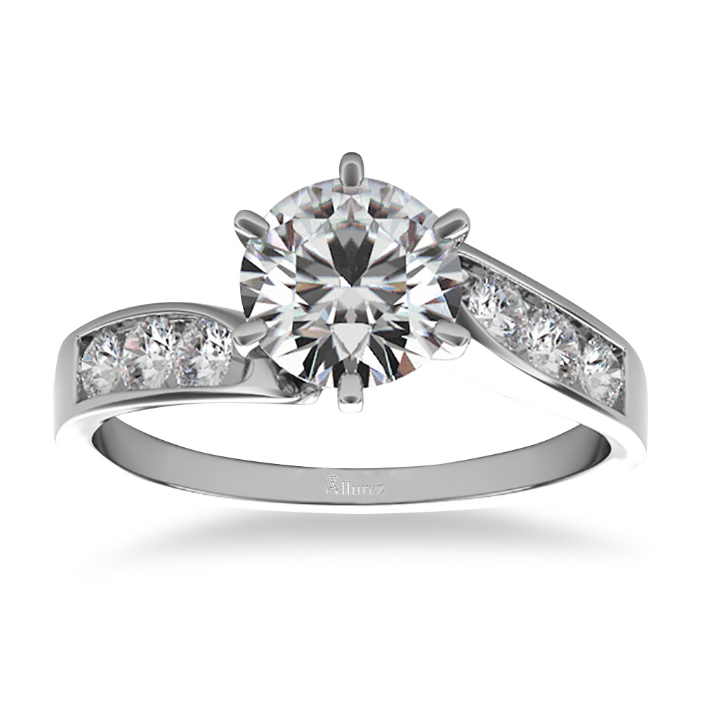 swirl engagement ring channel set 14k white gold 0 35ct