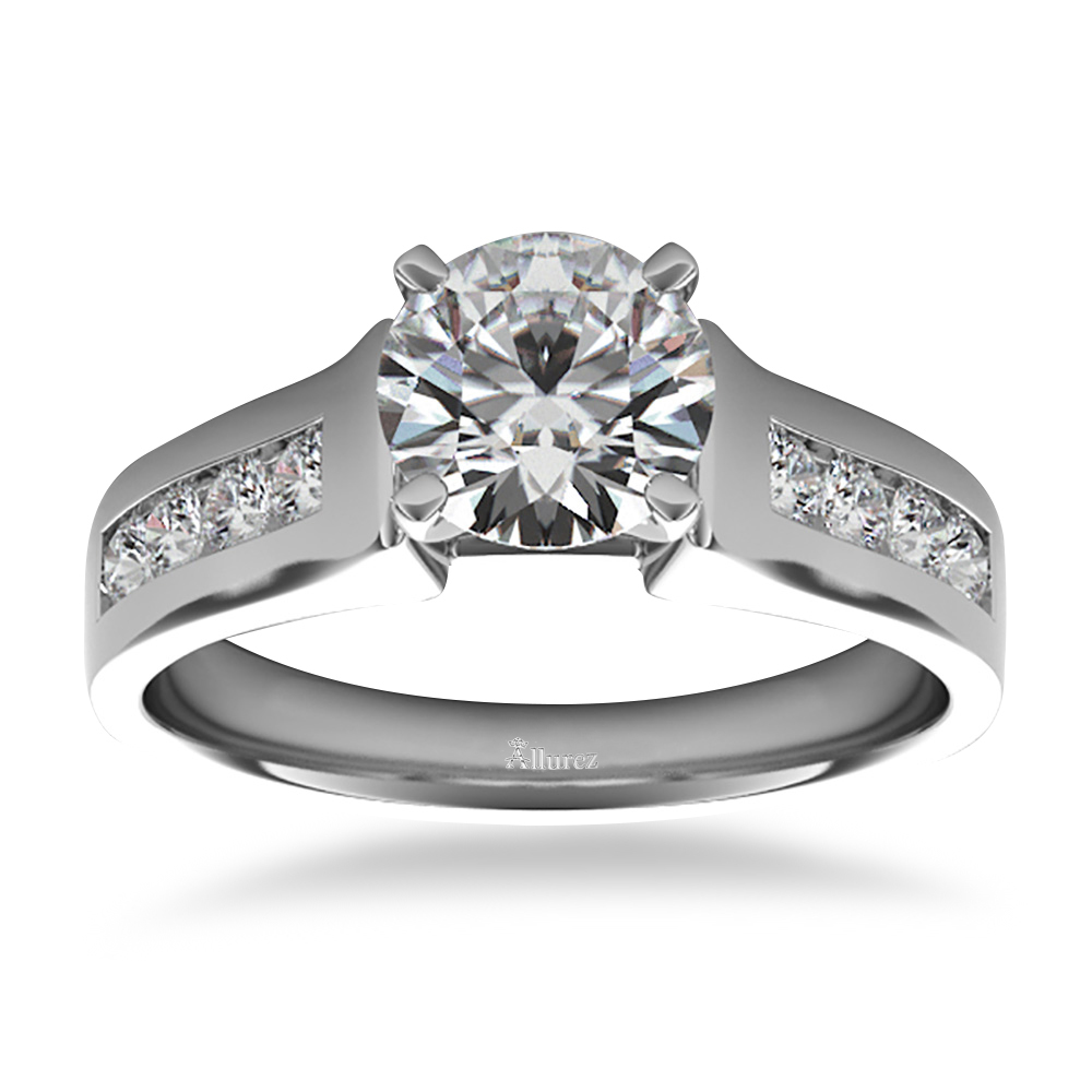 Diamond Accented Channel Set Engagement Ring 14k White Gold (0.29ct)