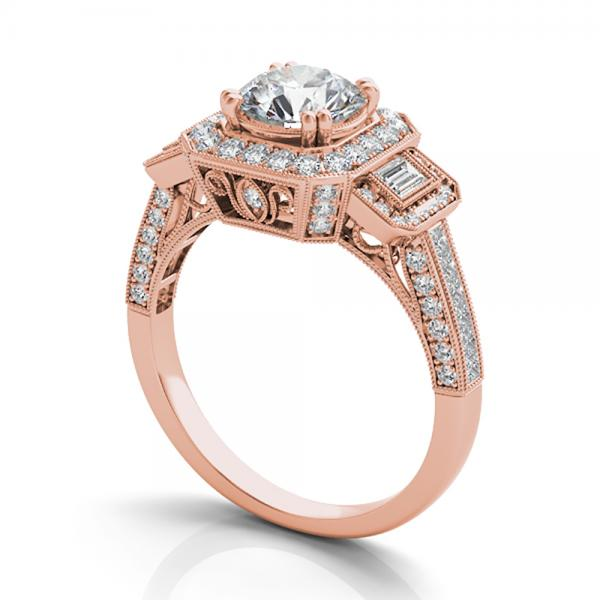 Diamond Vintage Square Halo Engagement Ring 14k Rose Gold 2 00ct
