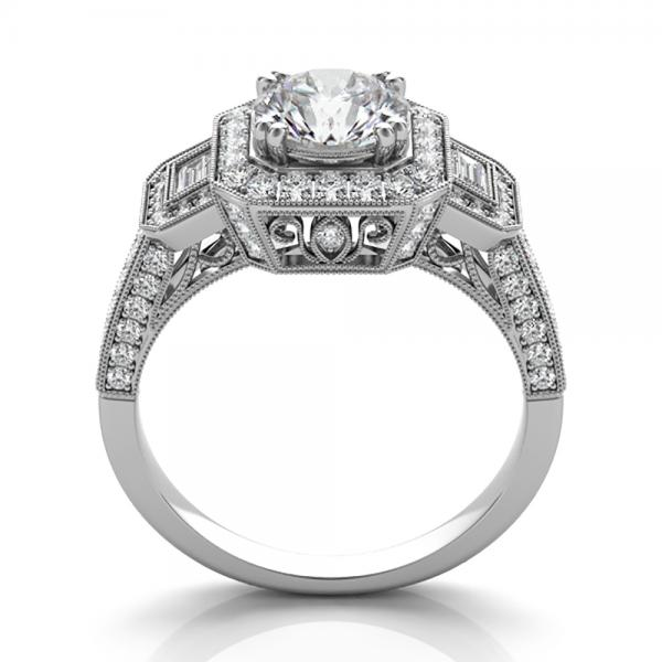Diamond Vintage Square Halo Engagement Ring 14k White Gold (2.00ct)