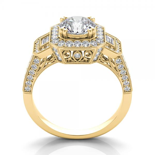 Diamond Vintage Square Halo Engagement Ring 14k Yellow Gold (2.00ct)