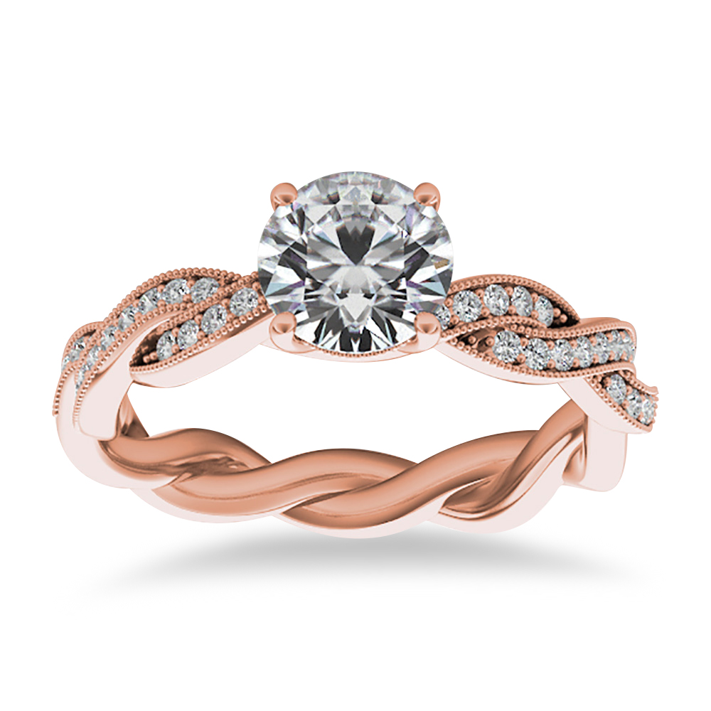 Diamond Infinity Twisted Engagement Ring 14k Rose Gold 0