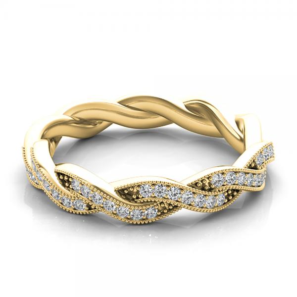Diamond Twisted Wedding Band 14k Yellow Gold (0.20ct)