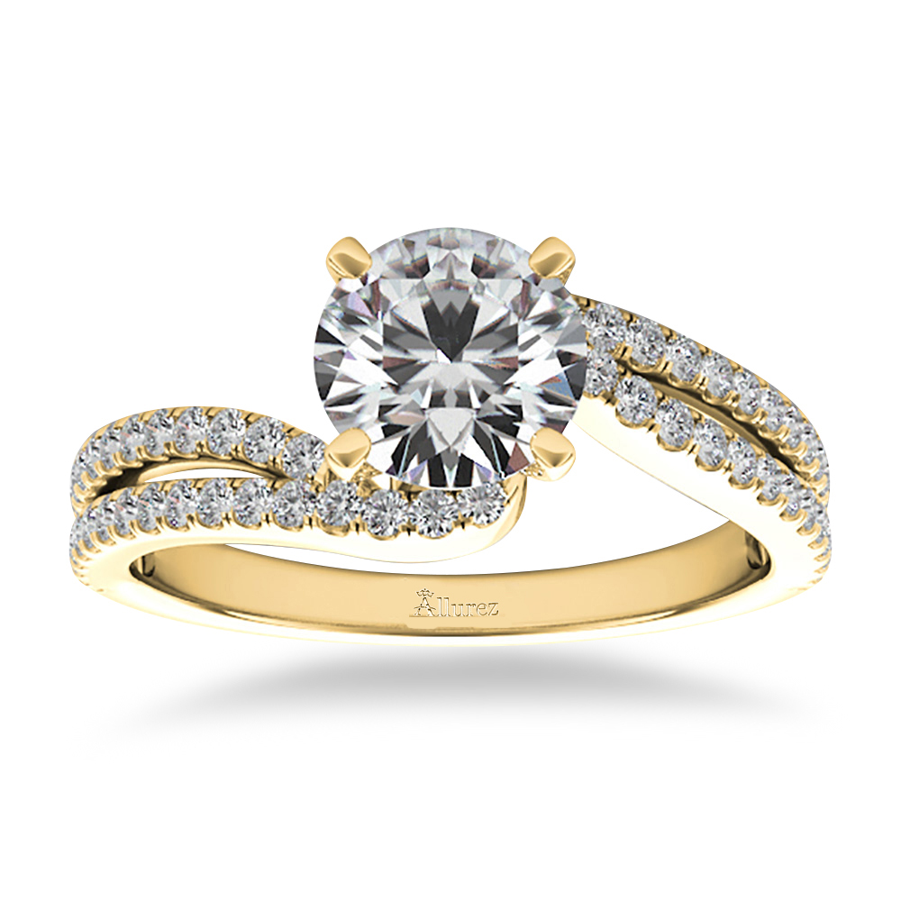 Diamond Split Shank Twisted Engagement Ring 14k Yellow Gold (0.34ct)