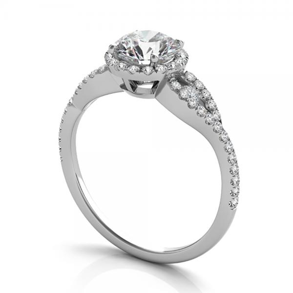 Diamond Accented Halo Engagement Ring 14k White Gold (1.29ct)