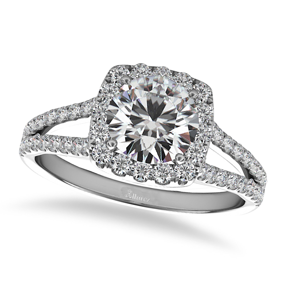 square halo engagement ring 14k white gold 1 50ct