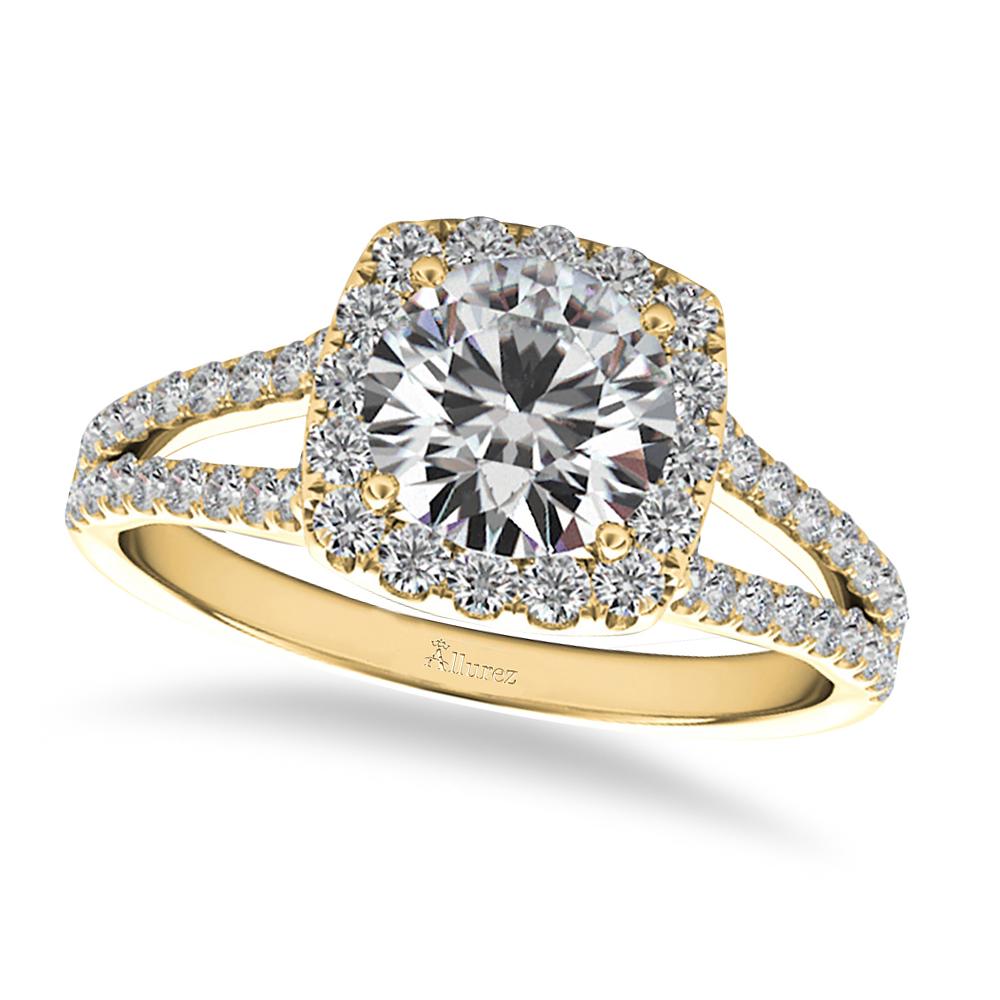 Diamond Square Halo Engagement Ring 14k Yellow Gold 1 50ct Allurez