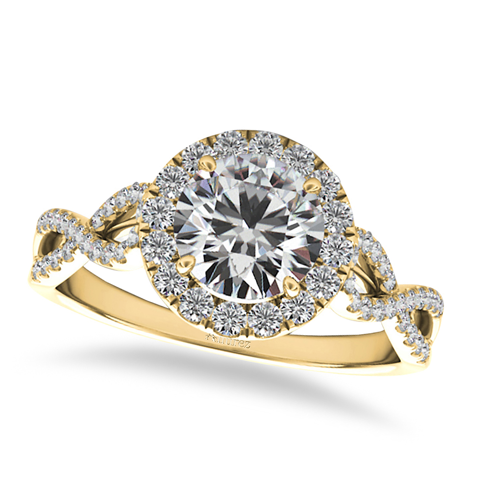 Twisted Diamond Halo Engagement Ring 14k Yellow Gold (1.50ct)
