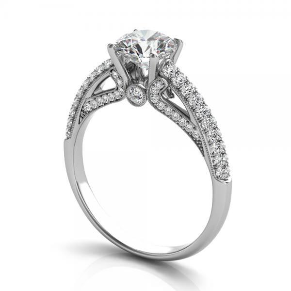 Diamond Pave Set Cathedral Engagement Ring 14k White Gold (0.45ct)