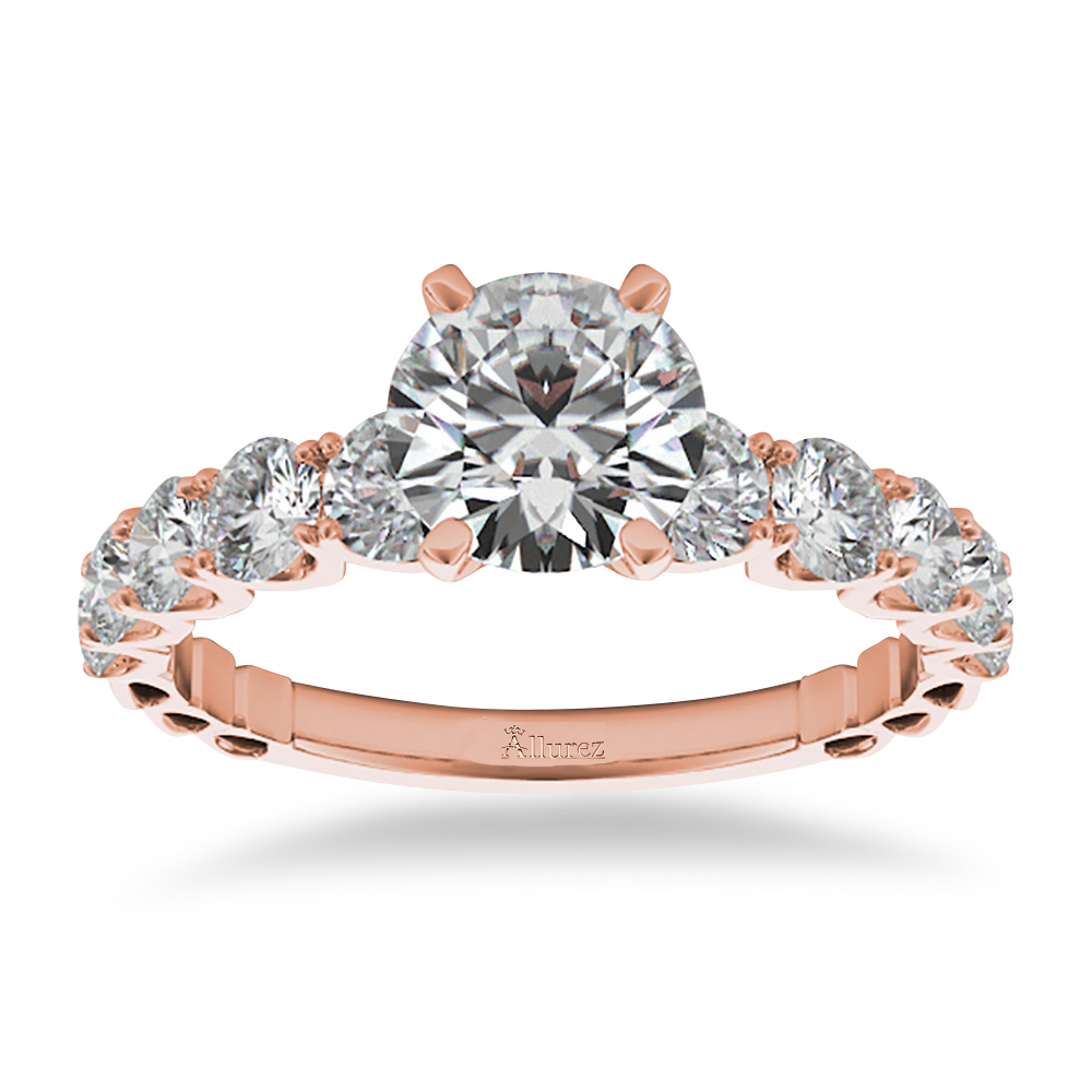 Graduated Diamond Engagement Ring 14k Rose Gold 1 00ct Allurez