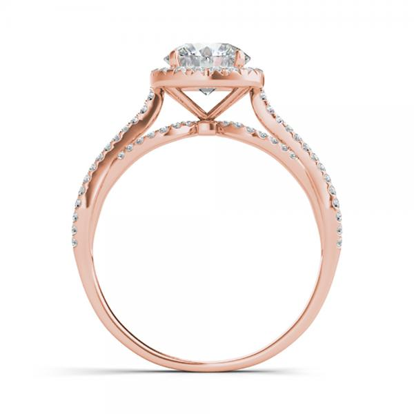 Diamond Twisted Halo Engagement Ring 14k Rose Gold (1.50ct)